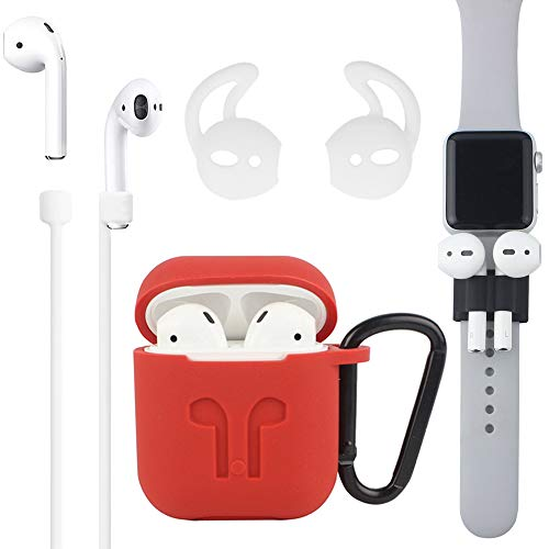 Airpods Case, [Airpods Accessories Set][Airpods Ear Hook][Airpods Watch Band Holder][Airpods Keychain][Airpods Strap][Silicone Cover] Best Kit [XCITING] Compatible Apple AirPods Charging (Red Kit)