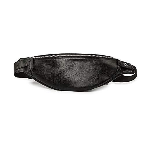MOLUO Moda Impermeable de los Hombres de Piel Suave Correa Bolsas Desgaste Paquete de la Cintura del Hombro Resistente Crossbody Bolsa de Cintura Hombre Riñonera (Color : Black)
