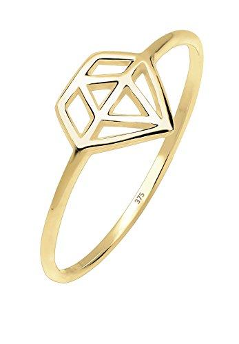 Elli PREMIUM Ring Damen Diamant Symbol Geo Minimal in 375 Gelbgold