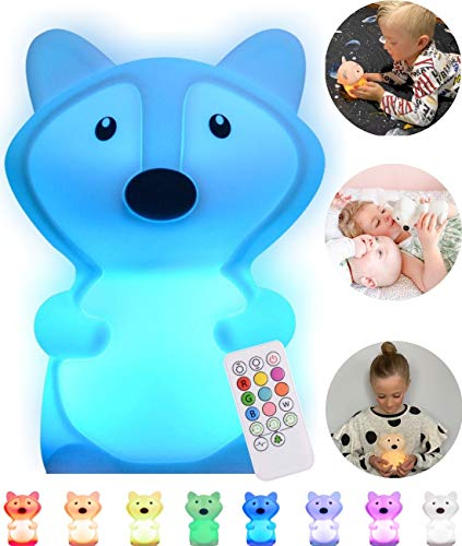 Baby Night Light for Kids Room | LED Kids Night Light Baby Lamp for Nursery | Baby Fox Lamp With Remote | Nine Multi Color Changing Fox Night Light | Miffy Lamp for Nursery | Silicone Night Light Kids