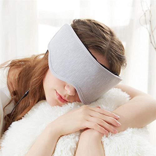 FLHLH Schlafmaske Damen und Herren,Musik Bluetooth Schlafaugenmaske, lindern Hitze Müdigkeit, Blackout Schlaf Artefakt, Memory-Baumwolle, hellgrau