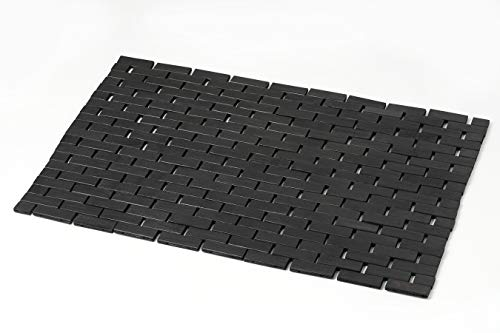 Bathroom Mat - Bamboo Black Bath Mat (Standard Size 16 x 23 Inches) - Bathmat for Bathroom, Tub, Spa and Sauna Floors, Wood Rug for Shower Doorsteps