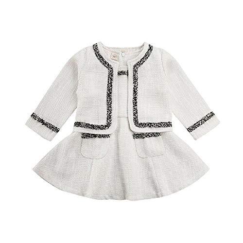LILIZHAN Kid Meisje Kleding Sets Print Coat+Mouwloos A-Lijn Jurk Party Outfit Formele Elegante Meisjes Winter Kleding