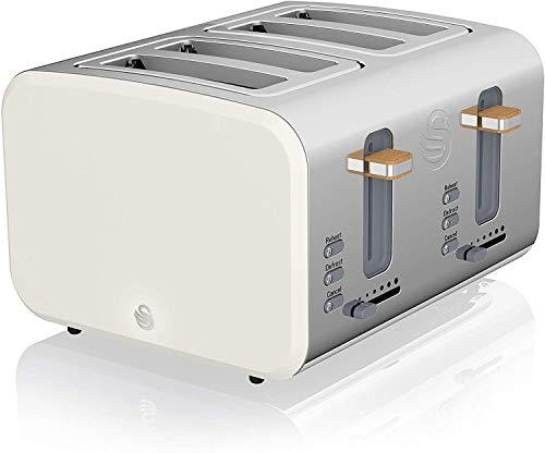 Swan Nordic Breitschlitz-Toaster 4 Scheiben, 3 Funktionen, 6 Bräunungsstufen, modernes Design, Edelstahl, Griff in Holzoptik, Weiß matt