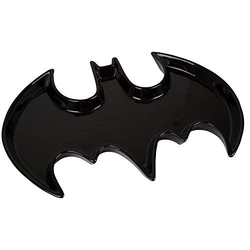 Batman Serving Tray - Ceramic Black Bat Symbol Design - Dishwasher & Microwave Safe - DC Comics Justice League Gift - 14 x 10