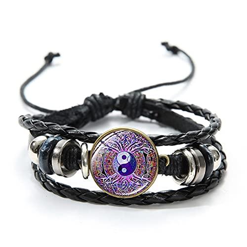 Inveroo Steampunk Gear Yin Yang Pulsera de Cuero Trenzado para Hombres Mujeres Tai Chi Art Pattern Glass Dome Charm Bracelet