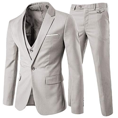 Anzug Herren Slim Fit 3 Teilig Anzüge Herrenanzug Sakko für Hochzeit Business