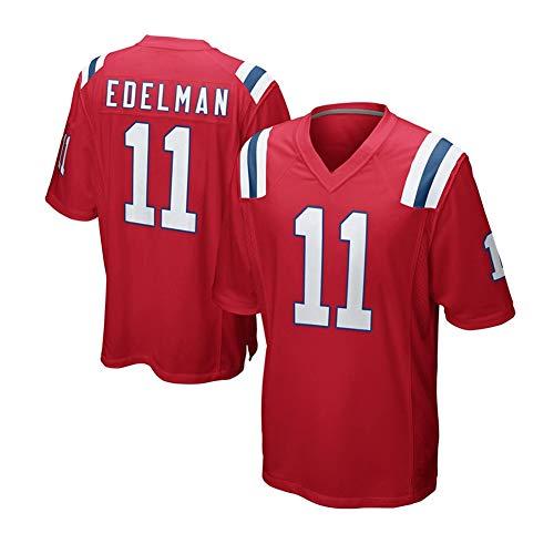 DIWEI Herren Rugby Trikot 11 # Julian Edelman New England Patriots bequem und atmungsaktiv Street T-Shirt Uniform Sport Jugendliche Kurzarm Spiel Trikot schwarz (S-3XL) Gr. M, rot