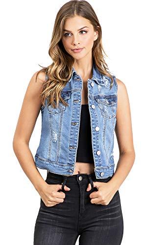 Wax Jeans Women's Classic Cropped Denim Vest (L, Light Denim)