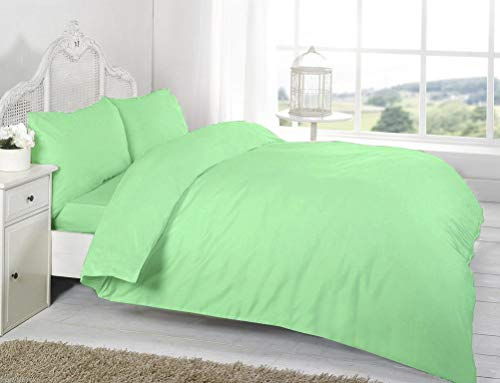 Comfy Nights Plain Dyed Pollycotton Duvet/Quilt Set (Double, Mint Green)