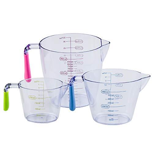 KARAA Jarra Medidora,Vaso Medidor, Vasos medidores Cocina para Hornear, Plástico 200ml / 400ml / 900 ml, sin BPA, Resistente al Calor para Cocina, Diferentes Unidades de Medida, Transparente