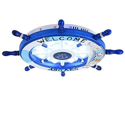 Plafondlamp, creatief comic-design voor kinderen, Nordic blauw ijzer, henneptouw, verlichting van het plafond decoratie, plafondlamp, D: 62 cm