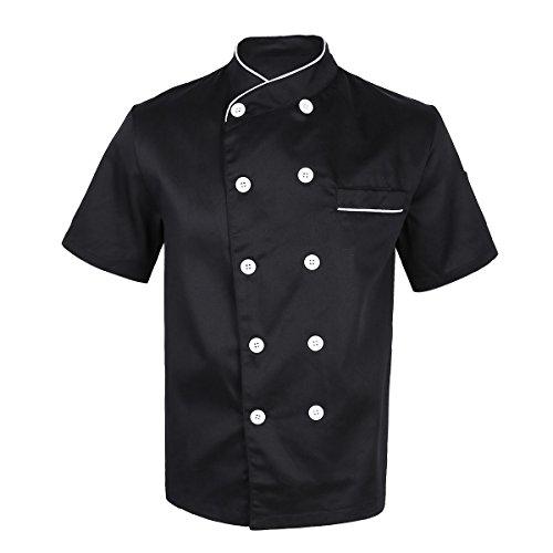 Alvivi Disfraz de Cocinero Fiesta Carnaval Casaca Chef Hombre Uniforme Cocina Bar Restaurante Hostelera Chaqueta Camisa de Cocina Adultos Negro XXXL