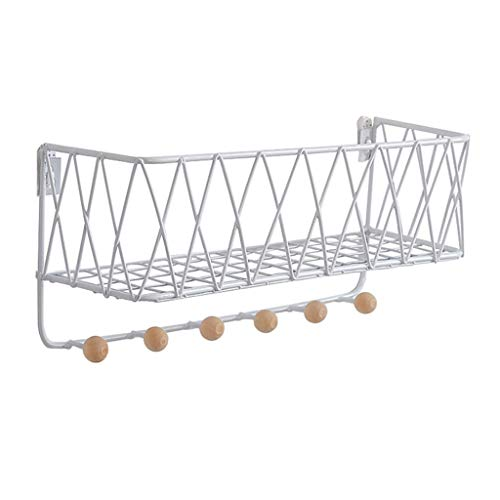 Wall-Mounted Coat Rack Storage Shelves Iron Hat Hanger for Hall/Foyer/Closet Room/Living Room Stand Holder Multi-Purpose Hooks (White)