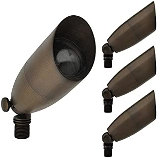 MarsLG BRS1 ETL-Listed Solid Brass Low Voltage Landscape Directional Spot Up Light in Antique Brass Finish with Ground Spike and Free MR16 LED Bulb (4-Pack), 36UL03BSx4