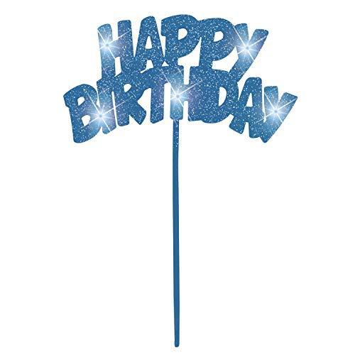Unique Party 90878 - Blue Flashing Happy Birthday Cake Decoration