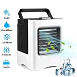 Portable Air Cooler, Personal Mini Air Conditioner Cooler, 3 in 1 Functions Cooling, Moisturizing, Purifying USB/Battery Powered, 3 Speeds Desktop USB Cooling Fan for Office, Home, Dorm, Outdoors