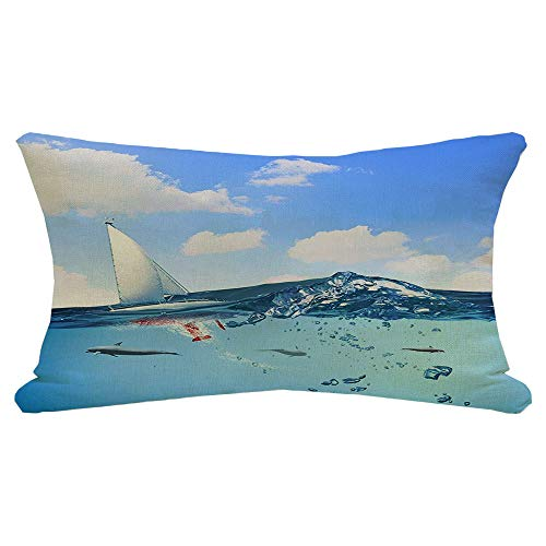 Lumbar Pillow Cover Floating Yacht Dolphins Swimming Action Under Boat Animal Water Animals Wildlife Sports Recreation Decorative Fall Linen Pillow Case for Couch Bed Car 12x20 Inch