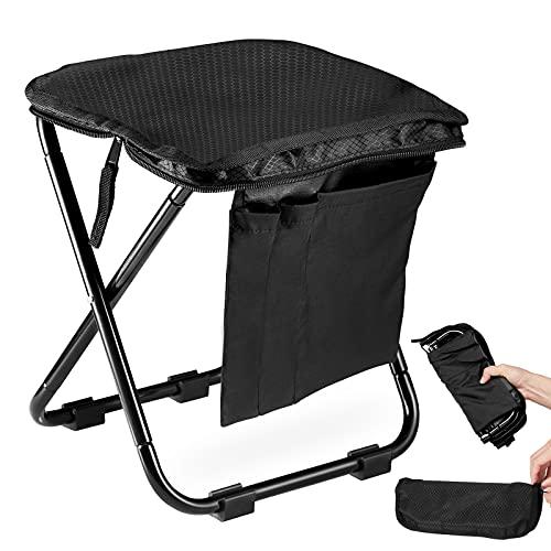 BeHappy アウトドアチェア 折りたたみ椅子 コンパクトイス キャンプ 耐荷重80-100kg 超軽量 2021新型 スツールと収納が一体化 お釣り バーベキュー 登山