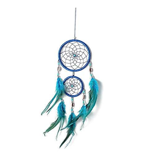 EastMetal Anillo Doble Atrapasueños Macrame Azul Atrapasueños Grande Pared Hecho a Mano Cazasuenos Decoracion para Dream Catcher Jewellery Making Craft DIY,48x11cm