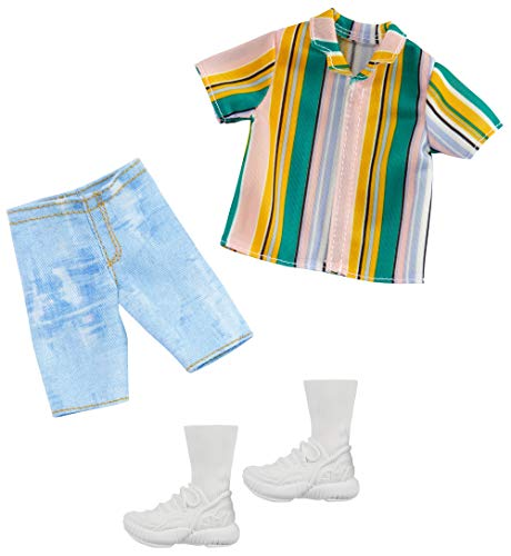 Barbie Clothes: 1 Outfit for Ken Doll Includes Striped Shirt, Denim Shorts and Shoes, Gift for 3 to 8 Year Olds ​, GHX46