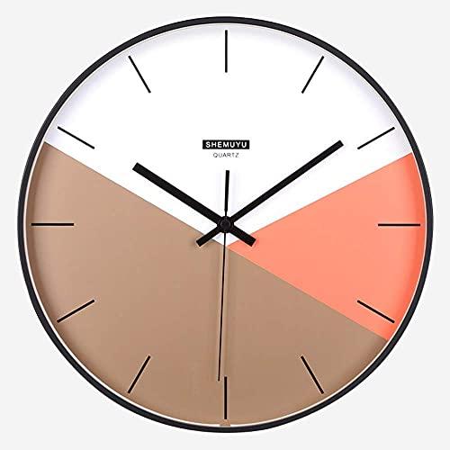 qwertyuio Relojes de Pared 12'Estilo nórdico Marco de Metal Reloj de Pared sin tictac - Movimiento de Cuarzo silencioso Funciona con Pilas - para decoración de Oficina en casa, marrón