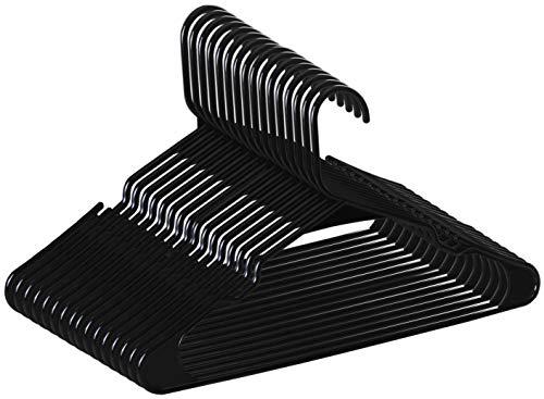Zoyer - Perchas de plástico estándar, resistentes y duraderas, color negro, Negro, 20, 20