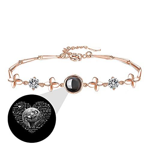 TE QUIERO pulsera de proyección pulsera de foto personalizada pulsera 100 brazalete de diferentes idiomas aniversario para mujer(Oro rosa Blanco y negro)