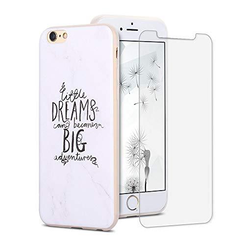 SpiritSun ES Funda para iPhone 6 Plus + Protectores de Pantalla in Cristal Templado, TPU Soft Silicona Carcasa Case Suave Flexible Original Trasero Protector Case Cover - Sueño