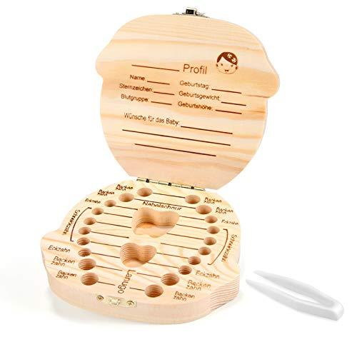 Siumir Zahndose Milchzähne Box aus Holz Milchzahndose Mädchen, Souvenir Aufbewahrungsbox mit Pinzette