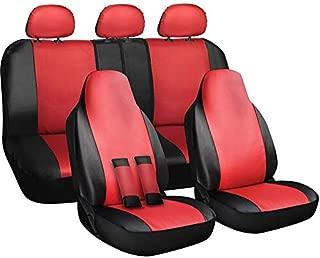 Motorup America Auto Seat Cover Full Set - Fits Select Vehicles Car Truck Van SUV - Red, Black