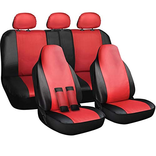 Motorup America Auto Car Seat Cover Full Set with Seat Belt Pads - Fits Select Vehicles Car Truck Van SUV - Red, Black