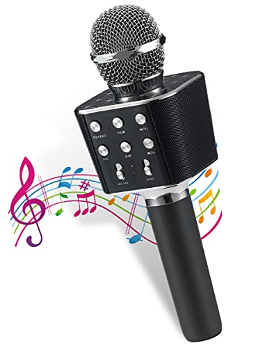 Pick Ur Needs® Karaoke Duplex Bluetooth Mic Wireless Bluetooth Microphone Connection Player Speaker 2-in-1 with Recording + USB + FM Microphone Karaoke Mic (Black)
