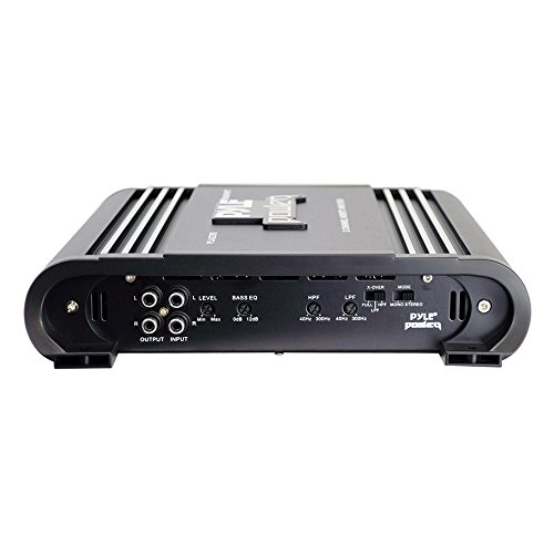 2 Channel Car Stereo Amplifier - 2000W Dual Channel Bridgeable High Power MOSFET Audio Sound Auto Small Speaker Amp Box w/ Crossover, Bass Boost Control, Silver Plated RCA Input Output - Pyle PLA2378, Black