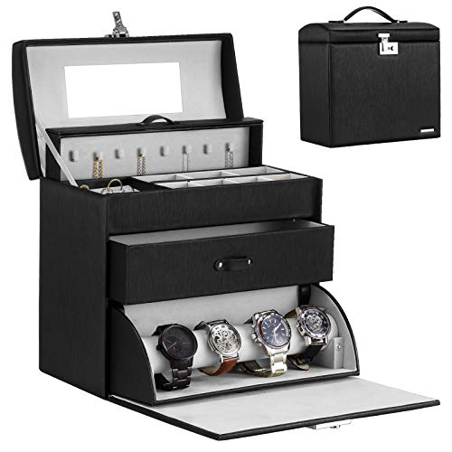Homde Jewelry Display Box for Men Women Necklace Sunglasses Fully Locking with Watch Hanger Bracelet Holder Mirror