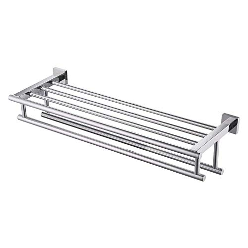 KES Towel Shelf with Double Towel Bar Rack Organizer for Bathroom Hotel 23.3-Inch Stainless Steel Modern Wall Mount Polished Finish, A2112S60