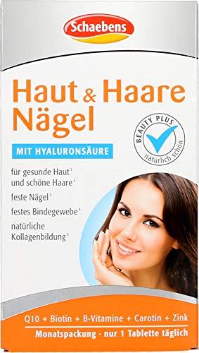 Schaebens - Haut ∙ Haare ∙ Nägel Beauty Kur - Nahrungsergänzungsmittel mit Vitaminen, Zink, Kupfer, Coenzym Q10 und Hyaluronsäure - 30 Tabletten