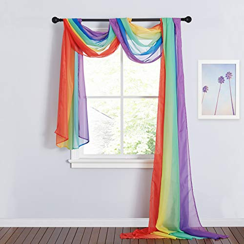 RYB HOME Outdoor Sheer Curtains - Bright Window Scarf Valance for Canopy Bed Outdoor Arbor Birthday Party Outdoor Curtains Tablecloth, W 60 in x L 216 in per Panel, 2 Panels, Rainbow