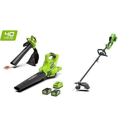 Greenworks Tools 24227UC 40 V Laubgebläse und Sauger, Laubbläser+ Akku-Rasentrimmer und -Sense 2in1 GD40BC (verstellbarer Zusatzgriff leistungsstarker brushless Motor ohne Akku u. Ladegerät)
