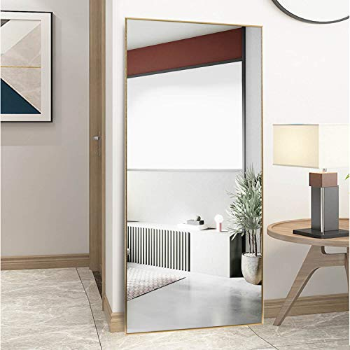 self Full Length Floor Mirror 71'x32' Large Rectangle Wall Mirror Standing Hanging or Leaning Against Wall for Bedroom, Dressing and Wall-Mounted Thin Frame Mirror - Gold