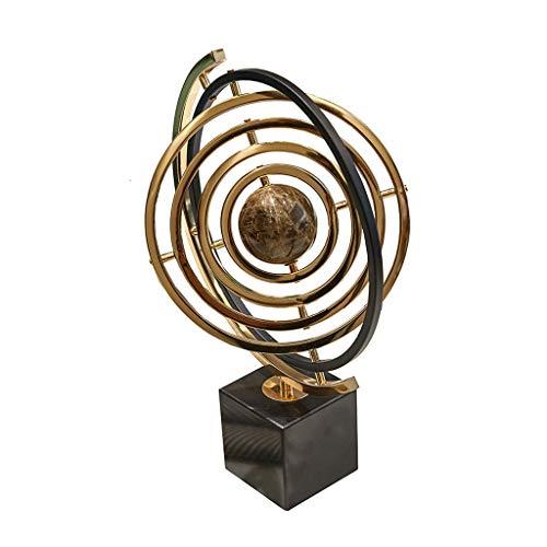 Europäische Marmor Globus Hauptdekoration Kreativen Amerikanisches Wohnzimmer Studie Weinschrank Büro-Desktop Dekorationen (Color : Gold, Size : 32 * 25 * 43cm)