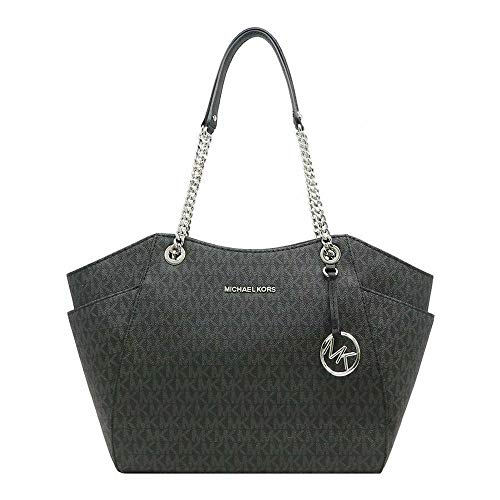 MICHAEL KORS SIGNATURE JET SET TRAVEL CHAIN SHOULDER TOTE BAG BLACK...