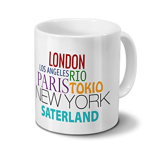 Städtetasse Saterland - Design Famous Cities of the World - Stadt-Tasse, Kaffeebecher, City-Mug, Becher, Kaffeetasse - Farbe Weiß
