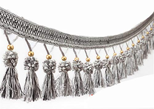Yalulu 4 Yards Beads Hanging Ball Tassel Fringe Trim Fabric Ribbon Trimming for Curtain Tablecloth Home Decoration (Grey)