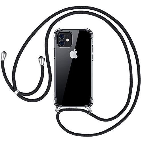 omitium Handykette für iPhone 12/12 Pro, Transparent Hülle mit Band iPhone 12 Pro Stoßfest Silikon Schutzhülle Durchsichtige Handyhülle iPhone 12 Halskette Cover mit Kordel zum Umhängen Case