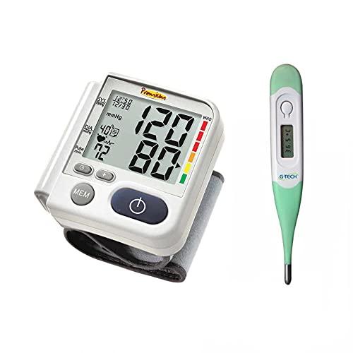 Kit Aparelho De Medir Pressão Digital De Pulso Com Termometro