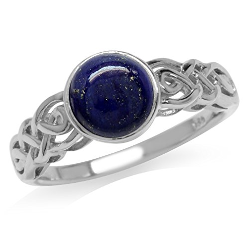 Silvershake 7mm Genuine Round Shape Lapis White Gold Plated 925 Sterling Silver Celtic Knot Solitaire Ring Size 6