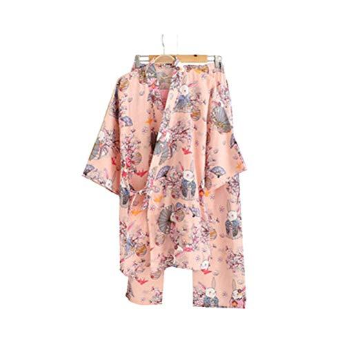 Pyjamas Damen Japanischer Kimono Set Baumwolle Schlafanzug Bunny Pyjamahose Nachtwäsche Freizeithose Negligee Nachthemd V-Ausschnitt Lingerie Gammelhose Locker Sleepwear Umstandskleid mit Tasche