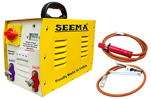 SEEMA® Portable Single Phase AC ARC Welding Machine Transformer Type 200 Amps With Accessories - 1 Year Warranty