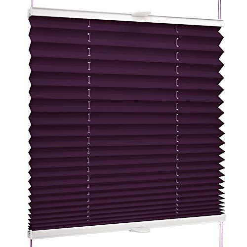 SchattenFreude Basic Klemmfix-Plissee für Fenster | Mit Klemm-Haltern | Ohne Bohren | Dunkelviolett, Breite: 60cm x Höhe: 130cm